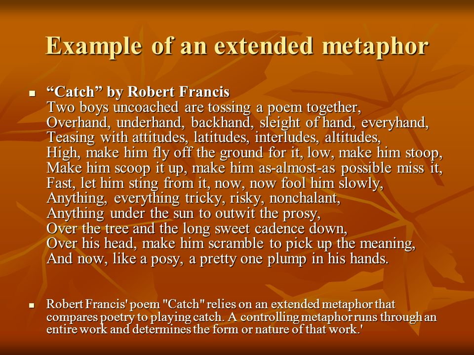 Example of an extended metaphor