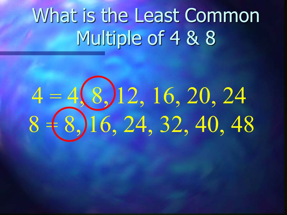 What is the Least Common Multiple of 4 & 8