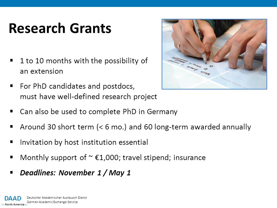 Research Grants 1 to 10 months with the possibility of an extension