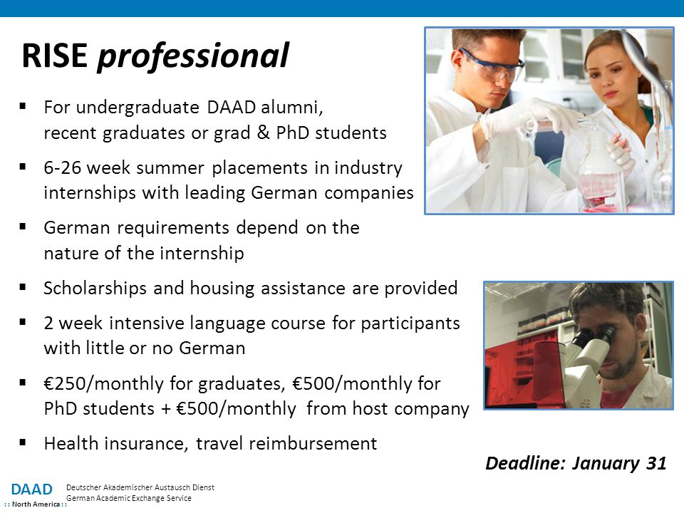 RISE professional For undergraduate DAAD alumni, recent graduates or grad & PhD students.