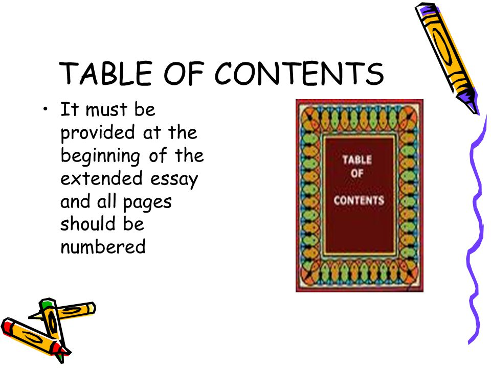TABLE OF CONTENTS It must be provided at the beginning of the extended essay and all pages should be numbered.
