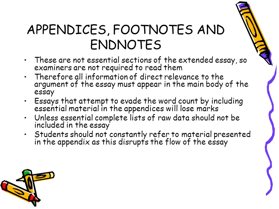 APPENDICES, FOOTNOTES AND ENDNOTES
