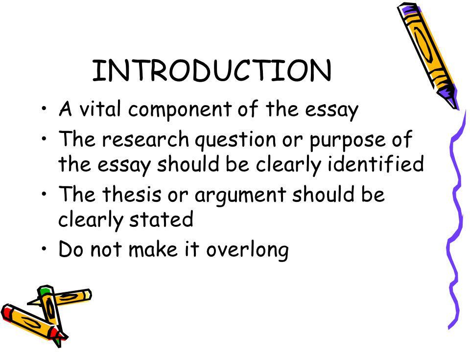 INTRODUCTION A vital component of the essay