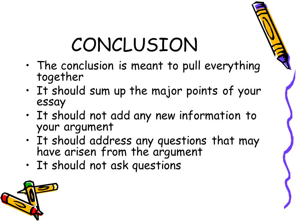 CONCLUSION The conclusion is meant to pull everything together