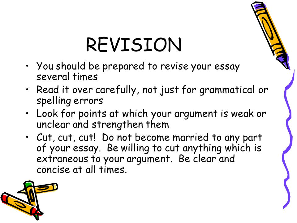 REVISION You should be prepared to revise your essay several times