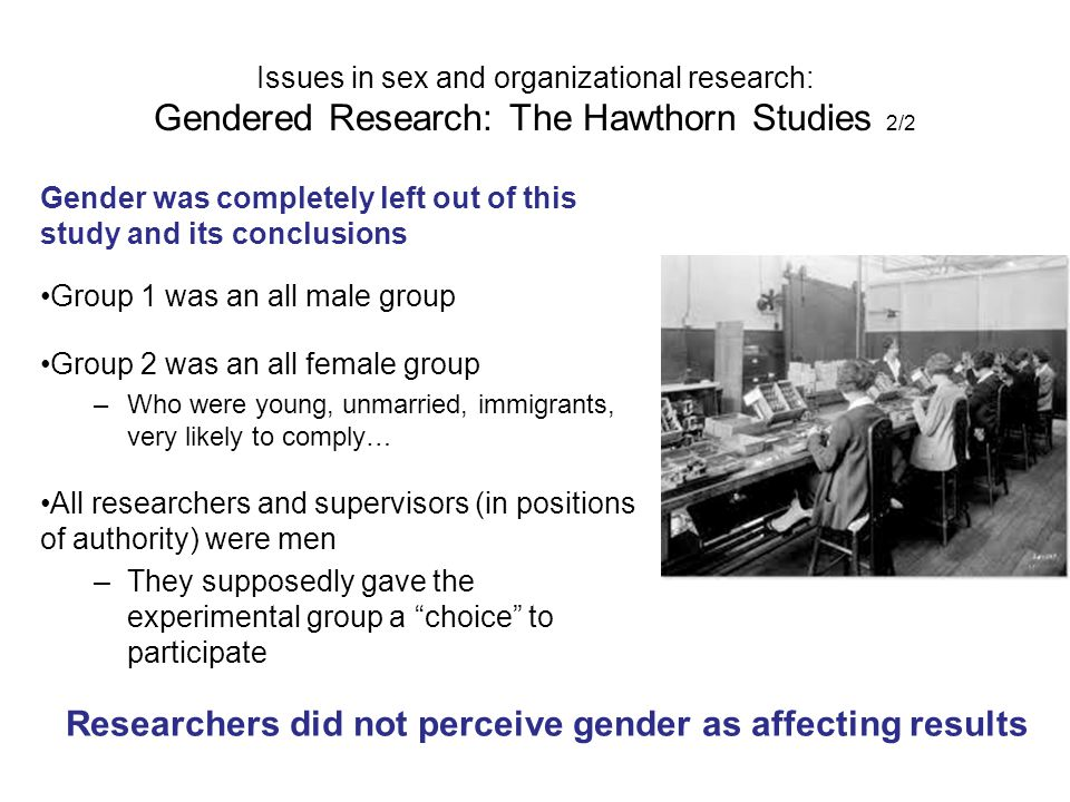 Researchers did not perceive gender as affecting results
