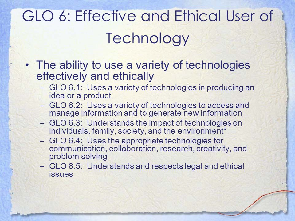GLO 6: Effective and Ethical User of Technology
