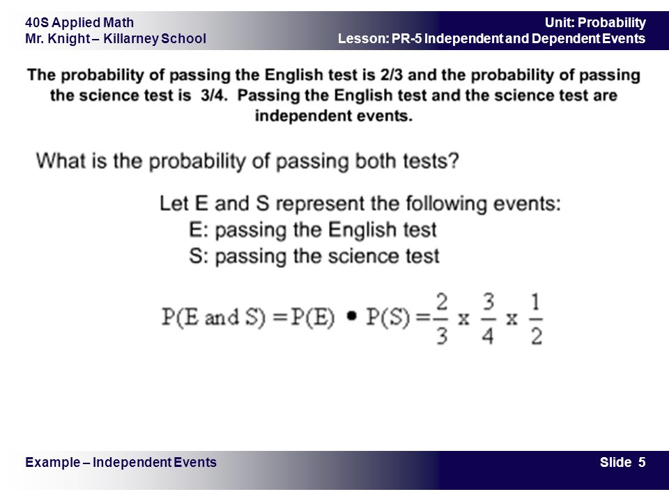 Independent and Dependent Events - ppt video online download