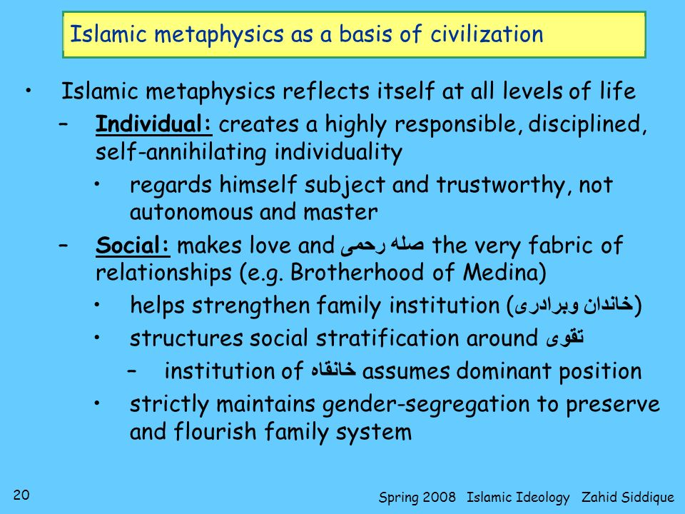 Islamic metaphysics as a basis of civilization