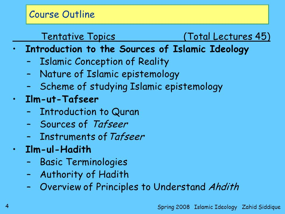 Spring 2008 Islamic Ideology Zahid Siddique