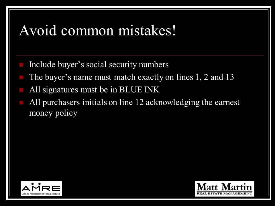 Avoid common mistakes! Include buyer's social security numbers