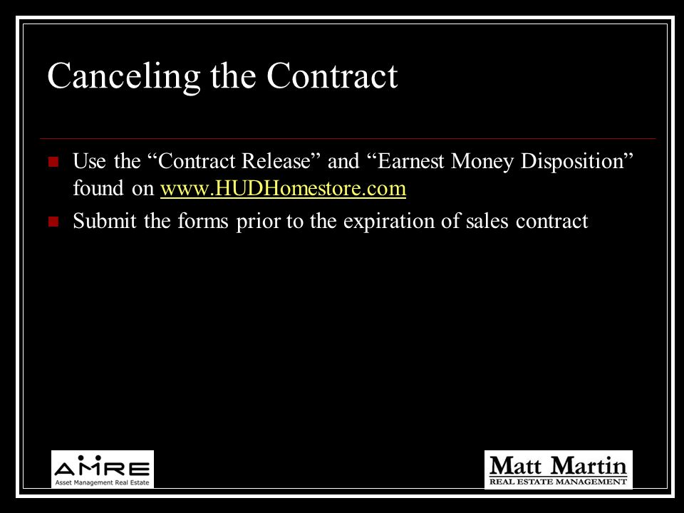 Canceling the Contract