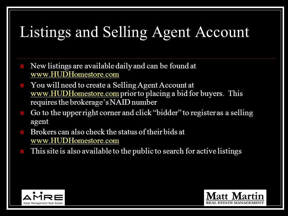 Listings and Selling Agent Account