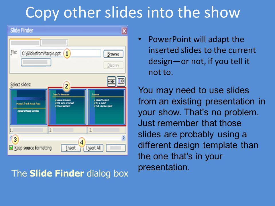 Microsoft office powerpoint 2003 training ppt download copy other slides into the show toneelgroepblik Image collections