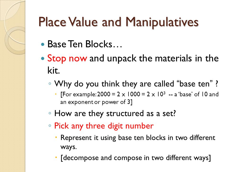 Place Value and Manipulatives
