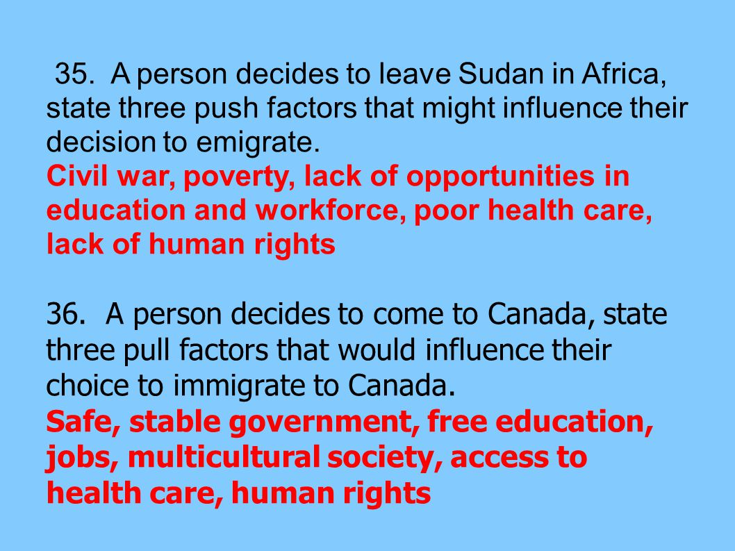 35. A person decides to leave Sudan in Africa, state three push factors that might influence their decision to emigrate.