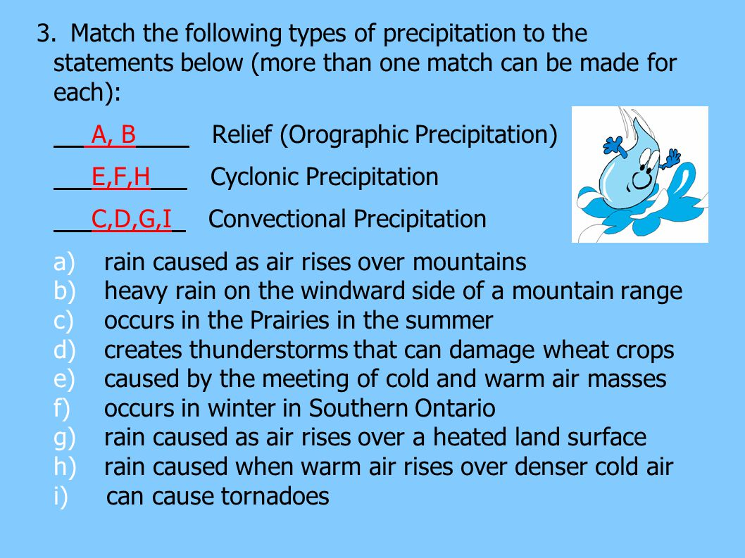 3. Match the following types of precipitation to the statements below (more than one match can be made for each):