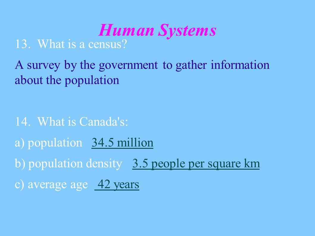Human Systems 13. What is a census