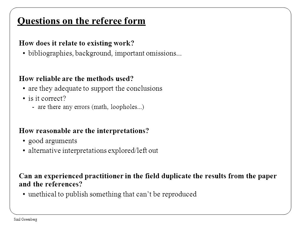 Questions on the referee form