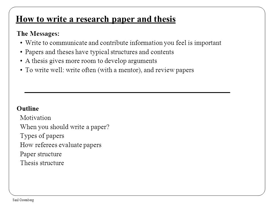 How to write a research paper and thesis