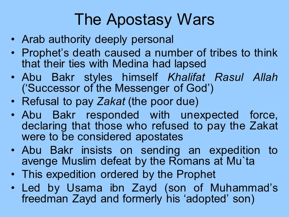 The Apostasy Wars Arab authority deeply personal