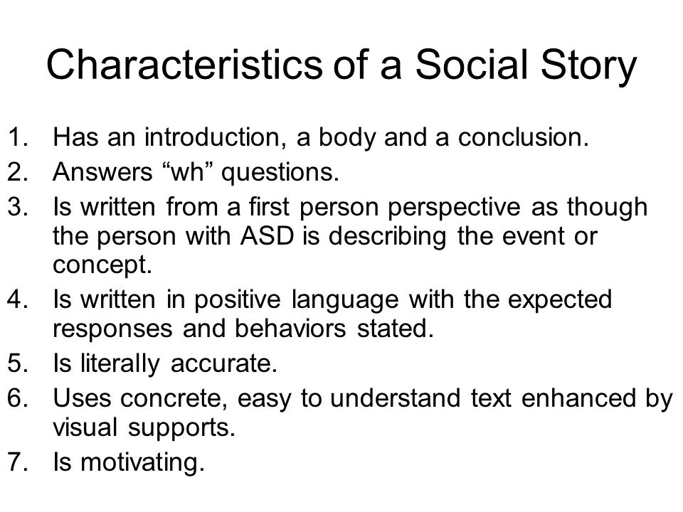 Characteristics of a Social Story