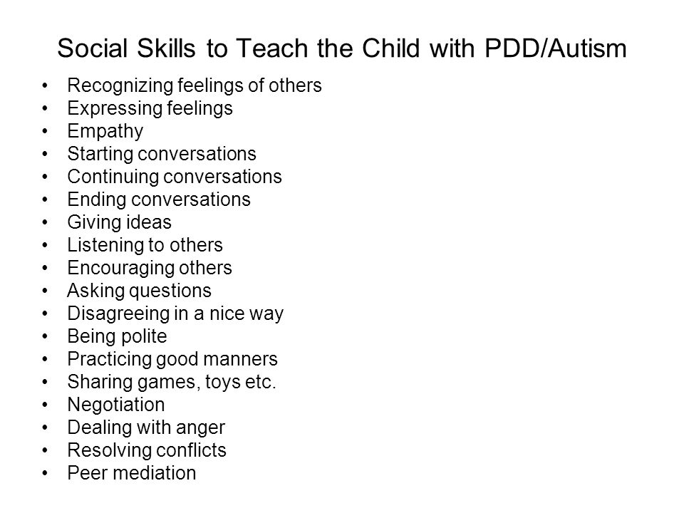 Social Skills to Teach the Child with PDD/Autism