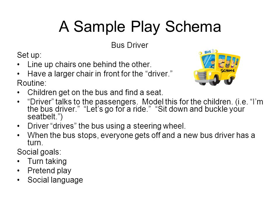 A Sample Play Schema Bus Driver Set up:
