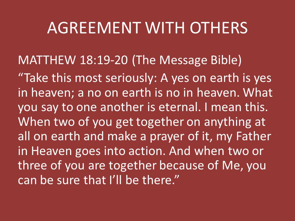 AGREEMENT WITH OTHERS