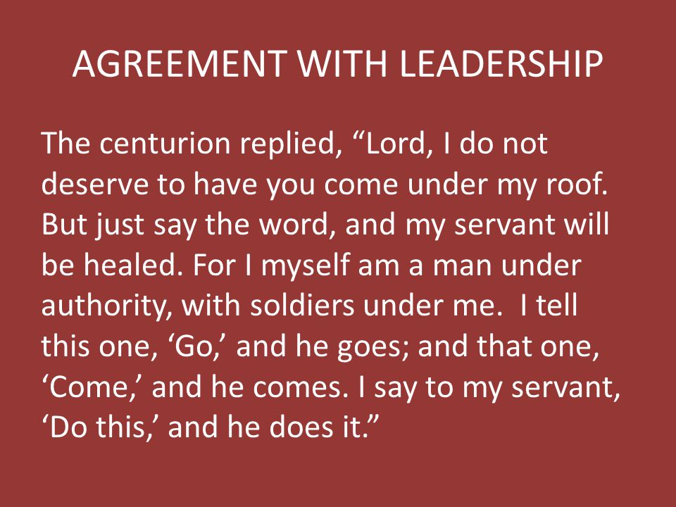 AGREEMENT WITH LEADERSHIP