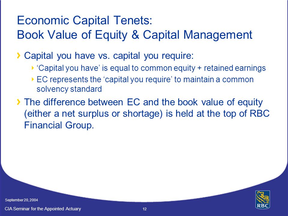 Economic Capital Tenets: Book Value of Equity & Capital Management