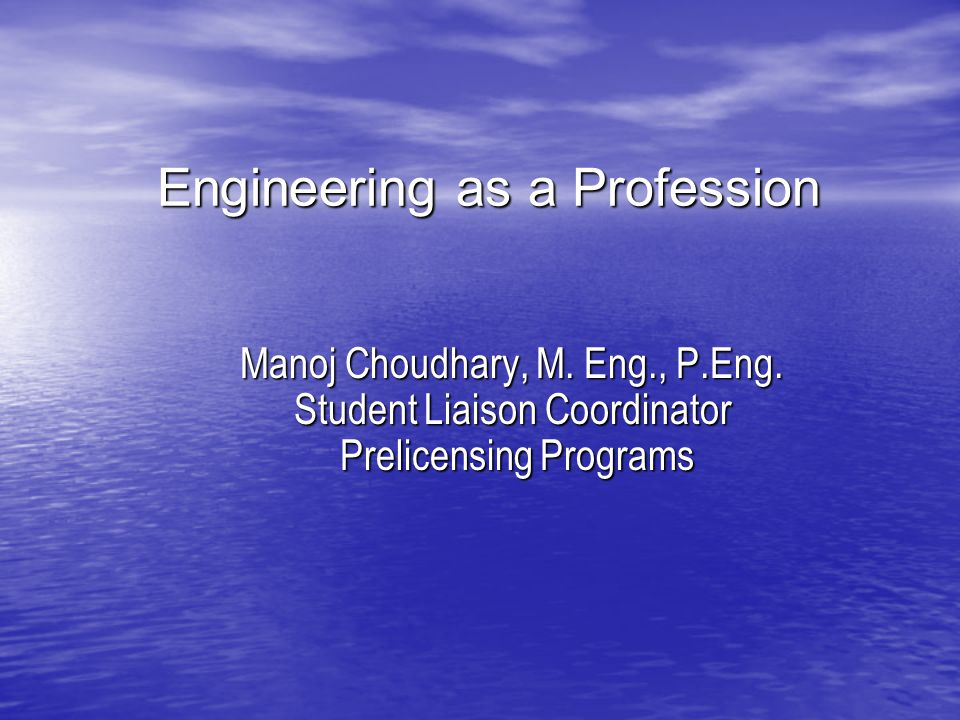 Engineering as a Profession