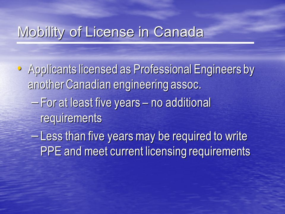 Mobility of License in Canada