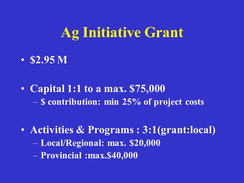 Ag Initiative Grant $2.95 M Capital 1:1 to a max. $75,000