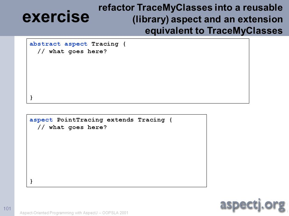refactor TraceMyClasses into a reusable (library) aspect and an extension equivalent to TraceMyClasses