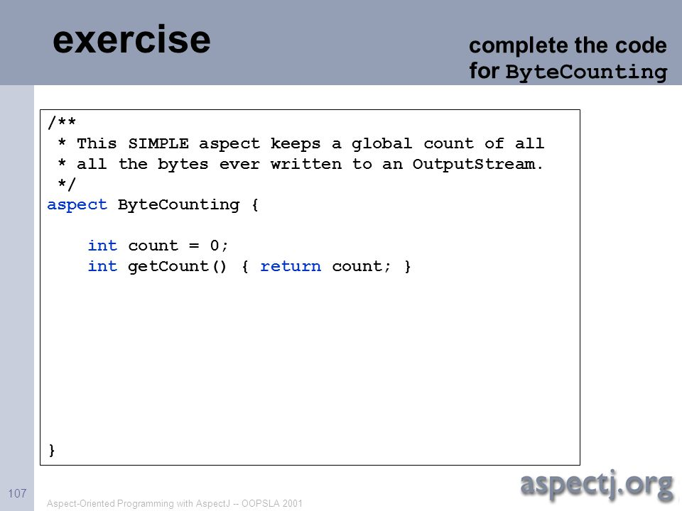 exercise complete the code for ByteCounting /**