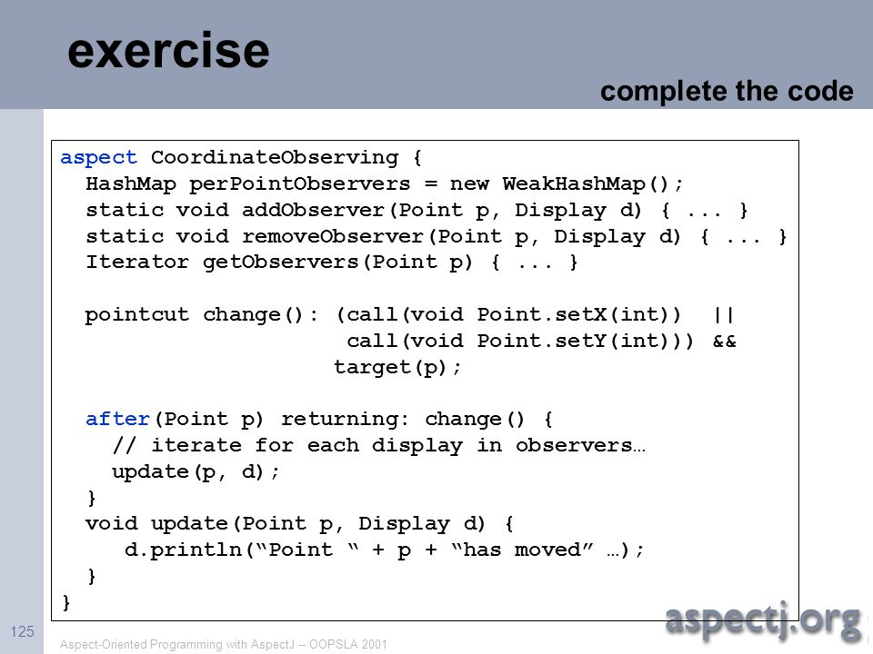exercise complete the code aspect CoordinateObserving {