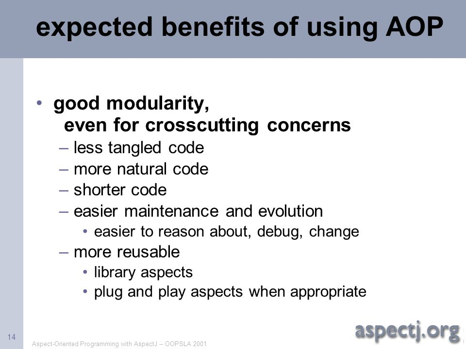 expected benefits of using AOP