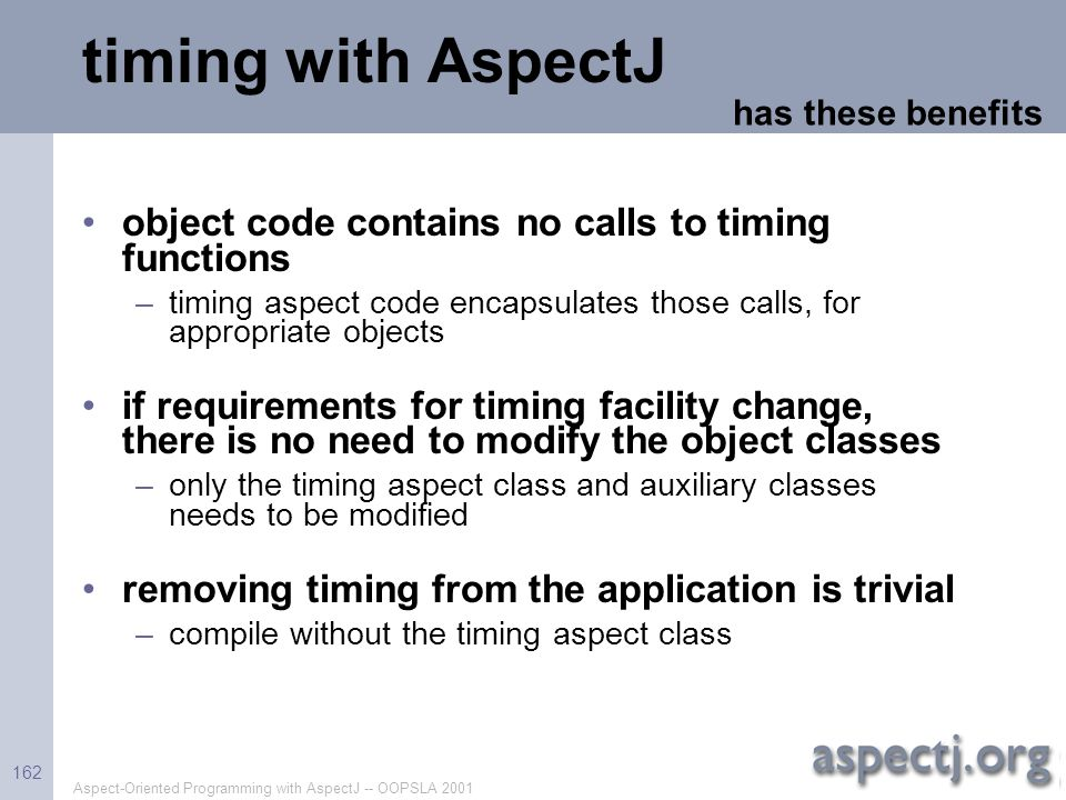 timing with AspectJ object code contains no calls to timing functions