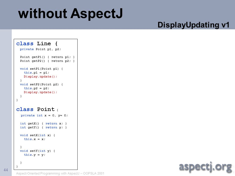 without AspectJ DisplayUpdating v1 class Line { class Point {