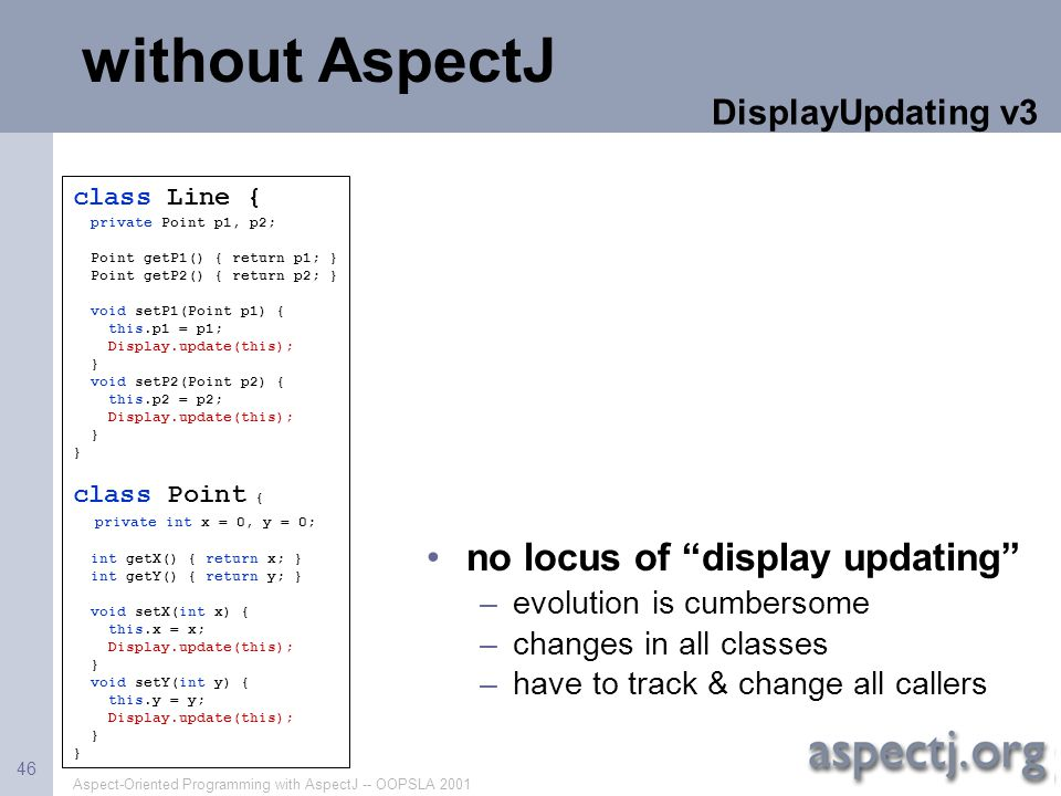 without AspectJ no locus of display updating DisplayUpdating v3