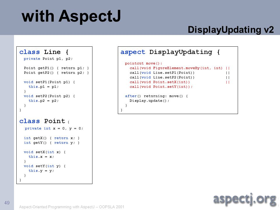 with AspectJ DisplayUpdating v2 class Line { class Point {