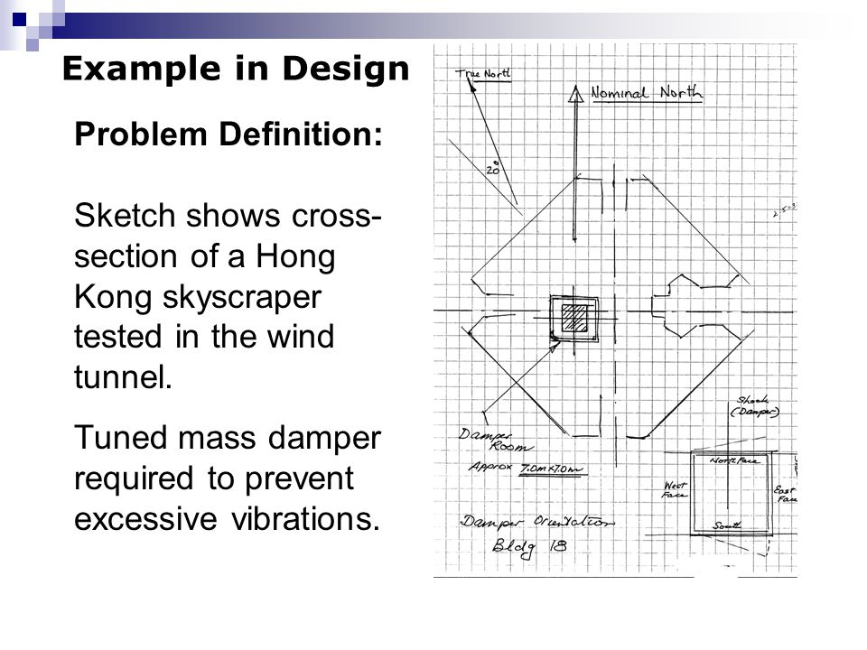 Example in Design Problem Definition: Sketch shows cross-section of a Hong Kong skyscraper tested in the wind tunnel.