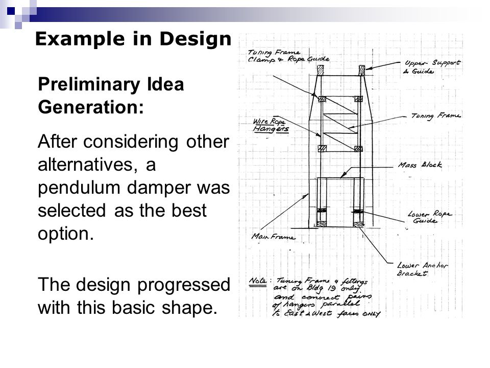 Example in Design Preliminary Idea Generation: After considering other alternatives, a pendulum damper was selected as the best option.