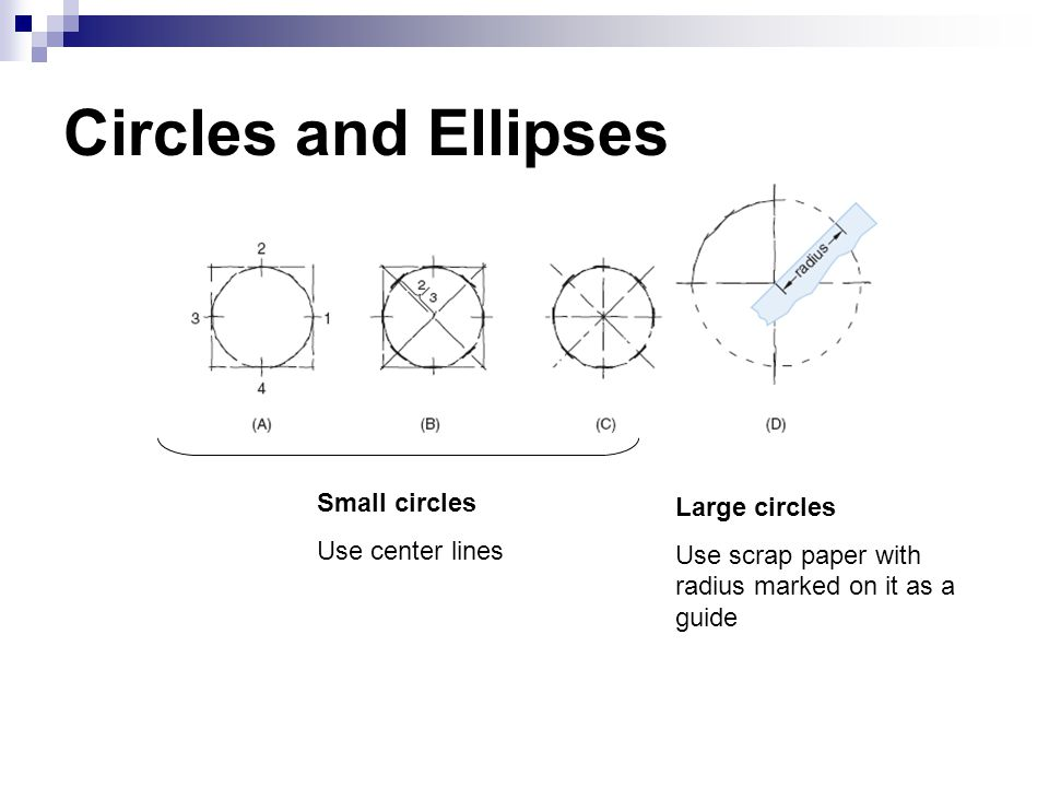 Circles and Ellipses Small circles Large circles Use center lines