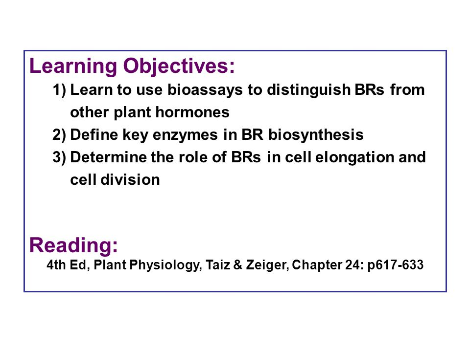 Learning Objectives: Reading: