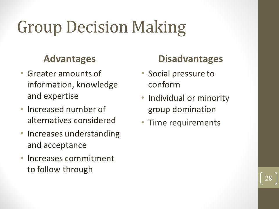 group decision making advantages disadvantages