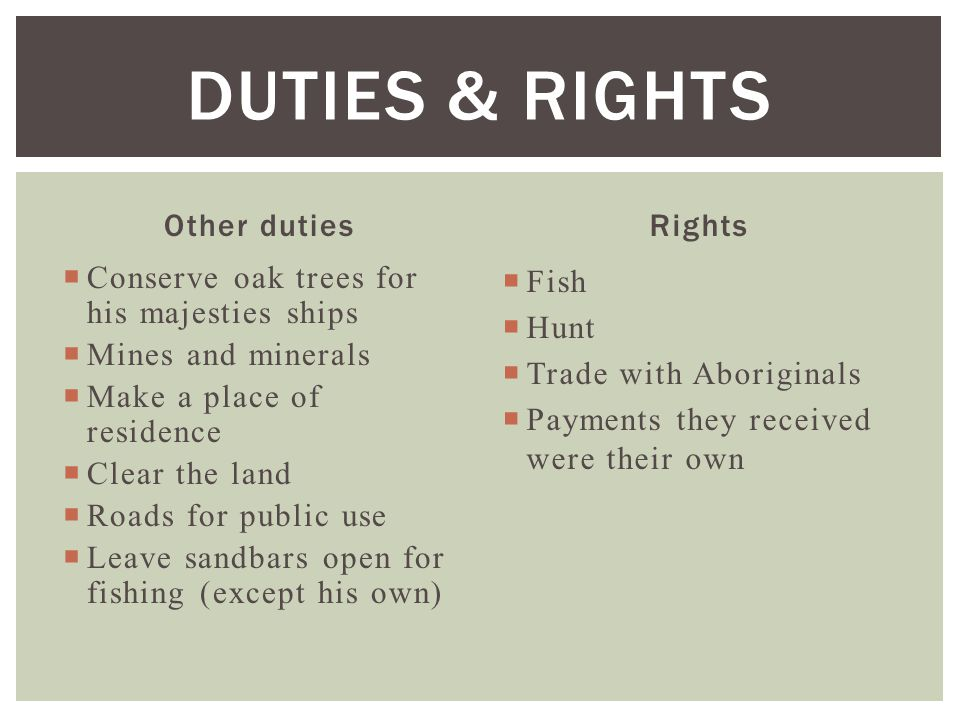 Duties & Rights Other duties Rights