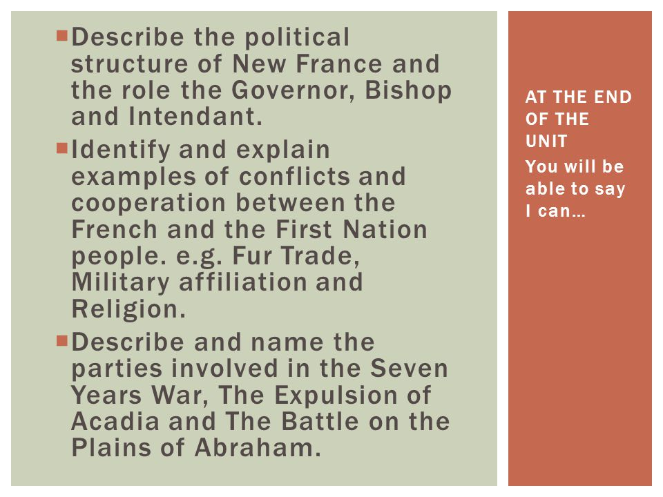 Describe the political structure of New France and the role the Governor, Bishop and Intendant.