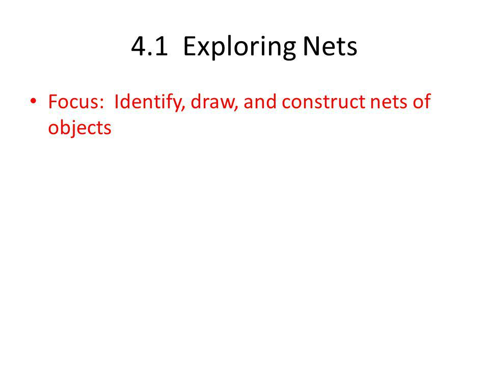 4.1 Exploring Nets Focus: Identify, draw, and construct nets of objects